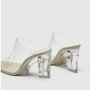 ZARA Clear / Transparent / Frosted Heels Mules